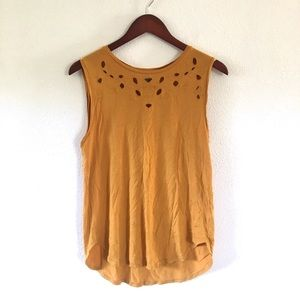 Old Navy Mustard Floral Cut Out Yoke Tank